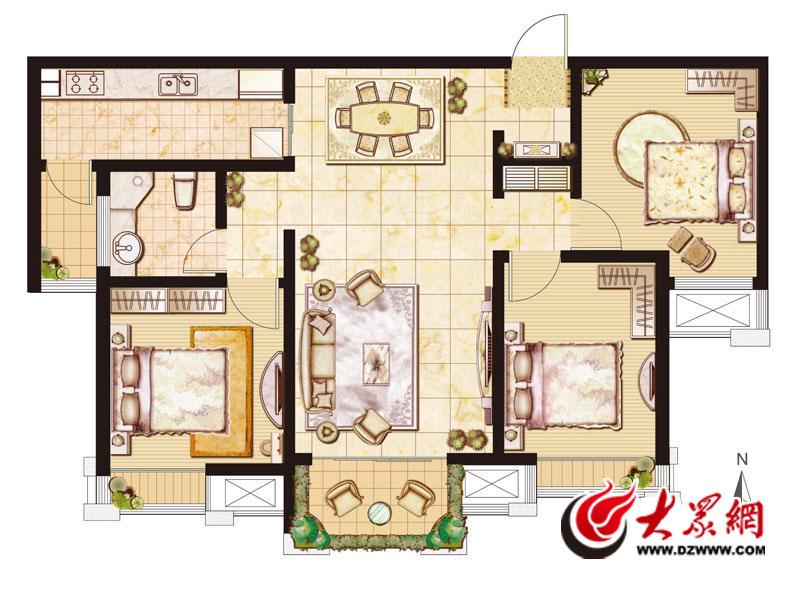 绿地国际花都5,6#中户标准层a2户型3室2厅1卫108.00㎡副本