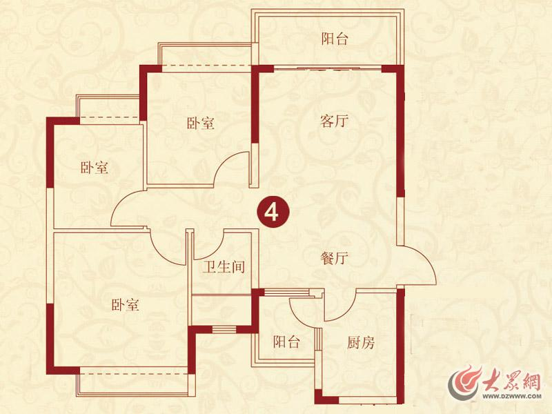 济南恒大绿洲6,9号楼4户型3室2厅1卫102.39㎡