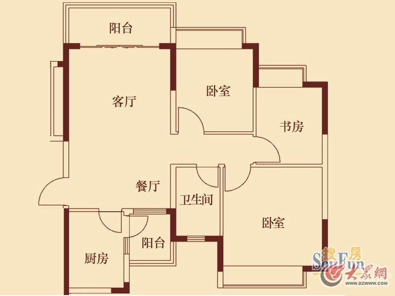 恒大城3#3,7#3户型图3室2厅1卫1厨101.00㎡...jpg